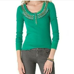 Free People Money Maker thermal top Emerald Green